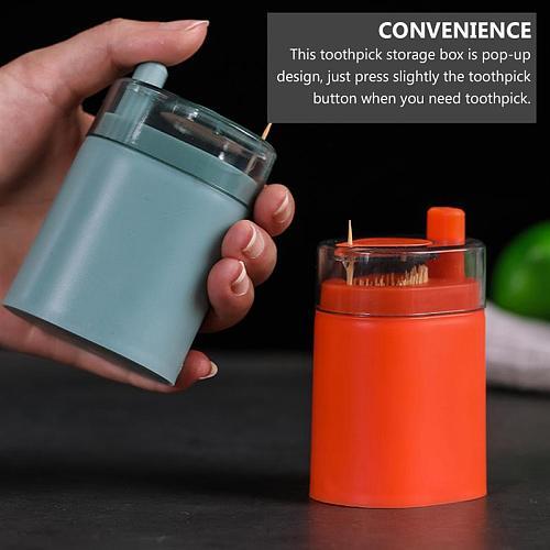 2PCS Pop Up Toothpick Holder Semi Automatic Toothpick Dispenser Storage Box