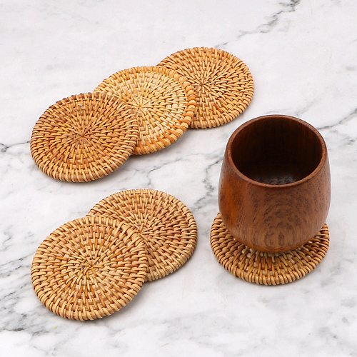 6Pcs/Set Round Kitchen Table Mats Coasters Set Insulation Mats Tableware Placemat For Kung Fu Tea Accessories