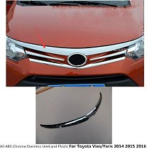 For Toyota Vios/Yaris/sedan 2014 2015 2016 garnish cover ABS chrome panel front engine Machine grille hood stick lid trim lamp