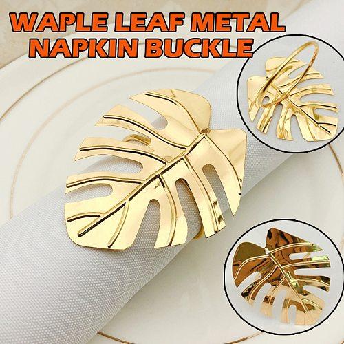 12pcs/set Leave Napkin Rings Set  Gold/Silver Napkin Ring Holders Decorative Napkin Buckle Wedding Party Dinner Table Decoration