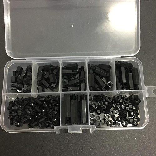 180 Pcs M3 Black Screw Nut Set Nylon Hex Bolt Nut Set for Arduino Raspberry Pi 3 Model B+ Plus Robot Car