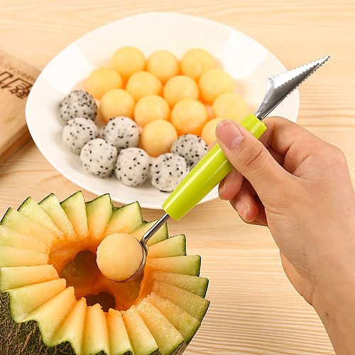 2 in 1 Dual-Head Fruit Baller Carving Knife Creative Ice Cream DIY Assorted Dishes Tool Watermelon Scoop Melon Digger Fruit Jar