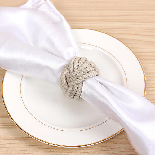 12Pc Valentine's Day Natural Jute Napkin Ring Rope Woven Napkin Buckle Linen Holders For Thanksgiving Festival Partie Decoration