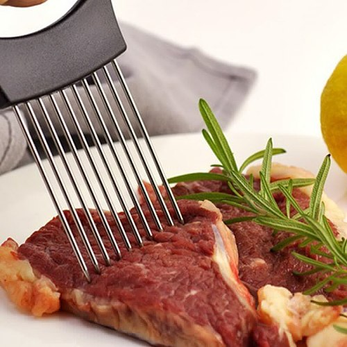 Onion Slicer Stainless Steel Loose Meat Needle Tomato Potato Vegetables Fruit Cutter Safe Aid Tool Kitchen Gadgets