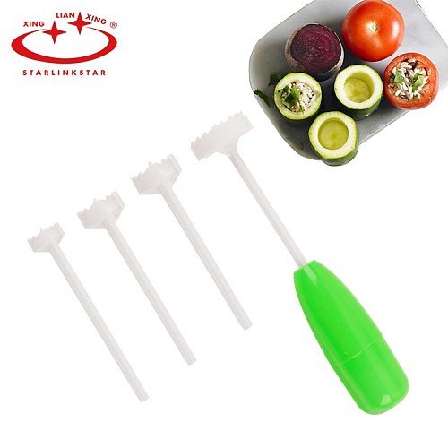 4pcs/set Vege Drill  Vegetable Spiral Cutter Spiralizer Digging Device Corer Device For Stuffed Vegetables Kitchen Accessories