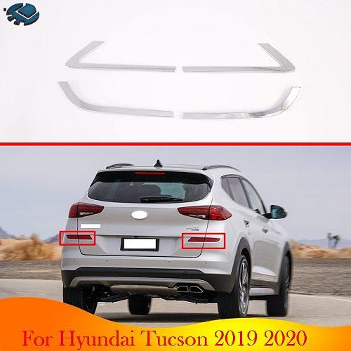 For Hyundai Tucson 2019 2020 Car Accessories ABS Chrome Rear Reflector Fog Light Lamp Cover Trim Bezel Frame Styling Garnish