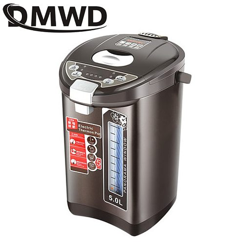 DMWD 5L Thermal Insulation Electric Kettle Stainless steel Teapot Constant Temperature Heating Hot Water Boiler Heater Bottle