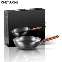 High Quality Iron Wok Traditional Handmade Iron Wok Non-stick Pan Non-coating Induction and Gas Cooker Cookware