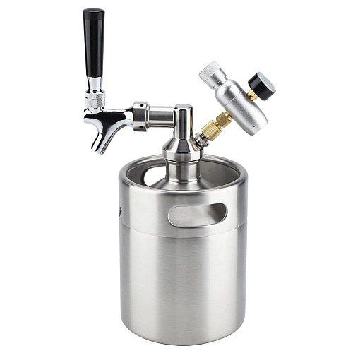 2L Mini Stainless Steel Beer Keg With Faucet Pressurized Home Brewing Craft Beer Dispenser Growler Mini Beer Keg System