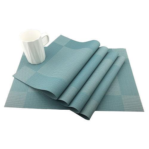 4Pcs/Set Pvc Blue Placemat Non-slip Place Mats Dining Table Mats Set Table Bowl Pad Napkin Tray Mat Coasters Kids Home Table Set