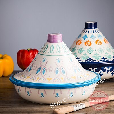 1.5L Moroccan Taji pot Handmade glaze ceramic Barbecue pots with lid just for toaster and microwave oven home tableware 25cm