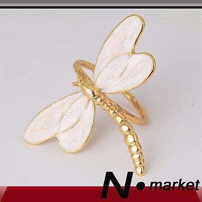 6pcs New Special Lovable Dragonfly Metal Napkin Rings For Weddings Party Home Decoration Aluminum  Napkin Holder