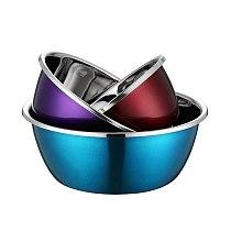 3pcs/set Stainless Steel Mixing Bowls Non Slip Nesting Whisking Bowls Set Mixing Bowls For Salad Cooking Baking