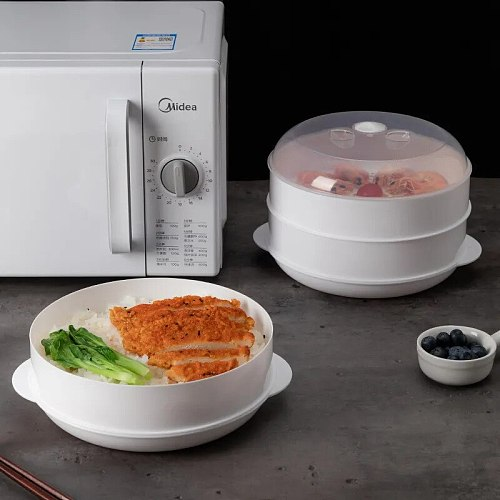 Microwave Steamer with Cover Food Steamer Bowl Heating Box home Meal Multi-layer Plastic Container Dessert Kitchenware Cookware