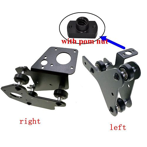 1set 3D printer parts CR-10 S4/S5 X axis motor mount bracket right/ left X-axis Front/Back Motor mount Plate with wheels pom nut