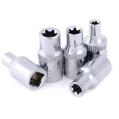 5pcs E-Socket Sockets 1/4 Inch(6.3mm) Torx Star Bit Female E-Socket Set Socket Nuts Set E4,E5, E6,E7, E8