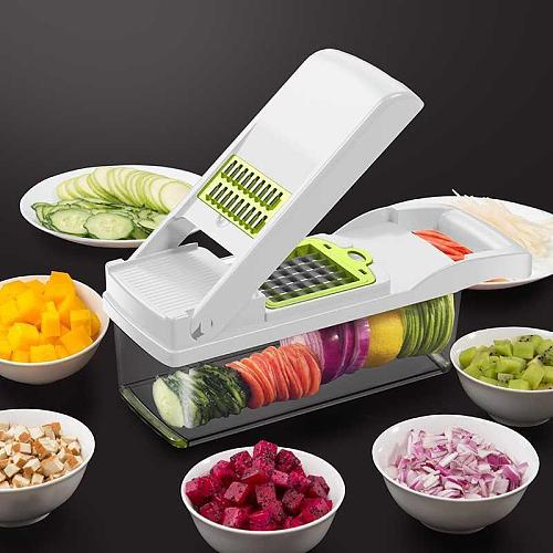 8 In 1 Kitchen Accessories Tool Vegetable Cutter Dicing Blades Slicer Shredder Fruit Peeler Potato Cheese Drain Grater Chopper