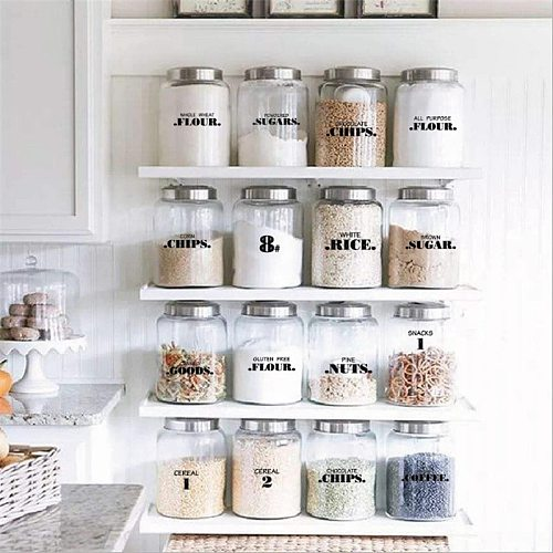 132pc/276pc Labels Waterproof Pantry Stickers Labels Supplies for Pantry Food Kitchen Spice Stickers Jar Home Kitchen Organizer