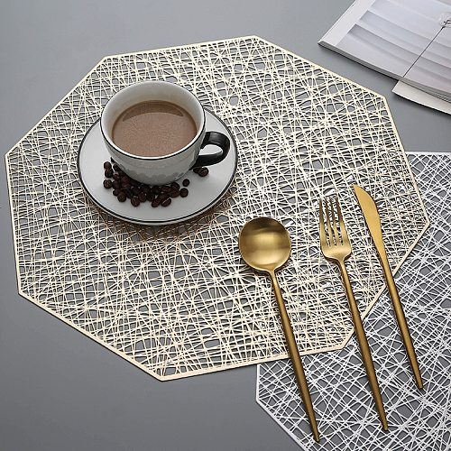 6/4pcs PVC Placemats Cutout Hangable mat Octagonal Hollow Non Slip Dining Table Mats Coaster Home table Decoration Gold Placemat