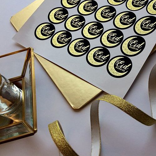 120 Pcs Ramadan Eid Mubarak Decoration Paper Sticker Gift Label Seal Sticker Islamic Muslim Eid Al-fitr Decoration Supplies #T2P