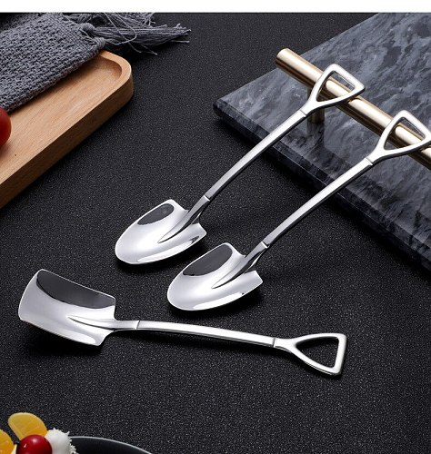 304 Stainless Steel Retro shovel coffee spoon dessert Forks watermelon spoon ice cream spoon shovel Kitchen Tools
