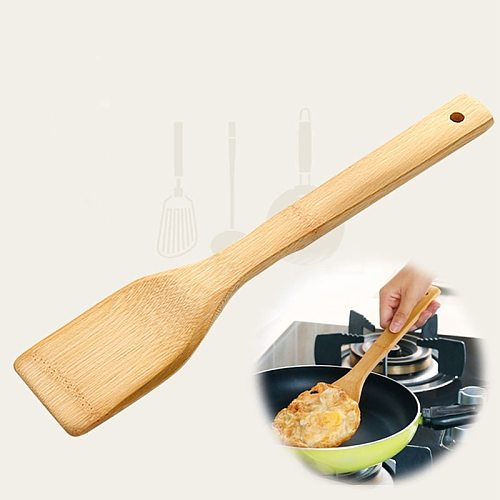 New Natural Health Bamboo Wooden Kitchen Slotted Spatula Spoon Mixing Holder Cooking Utensils Dinner Food Wok Supplies