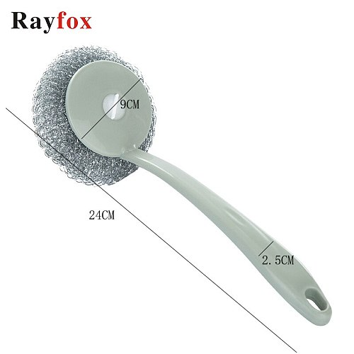 Kitchen Vegetable Brush Utility Steel Wire Ball Brush with Long Handle Cleaning Brush for Kitchen Hanging Strong Cleaning Tools