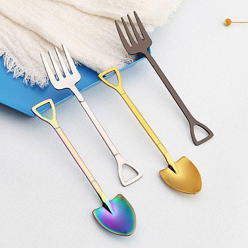 Stainless Steel Dessert Shovel Spoon Fork Picnic Travel Creative Cute Design Ice Cream Spoon Fruit Fork For Kitchen High Quality