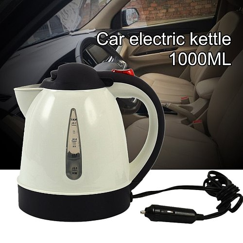 1000ML Hot Kettle Car Portable Water Heater Auto Travel for The Cafe 304 Stainless Steel Large Capacity