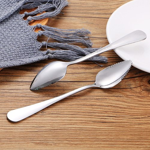2/4PC thick smooth stainless steel grapefruit spoon dessert spoon serrated edge cut fruit kitchen gadget cooking tools#40