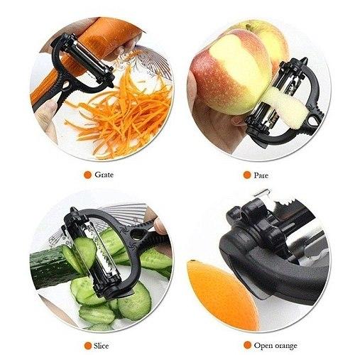 3 Kinds of Blades 360 Degree Rotary Vegetable Peeler Cabbage Grater Potato Slicer Cutter Fruit Knife Kitchen Gadget
