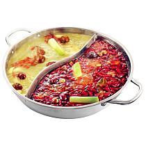 Stainless Steel Single-layer Hot Pot 28cm Thicken Durable Mandarin Duck Soup Fondue Pot Kitchen Binaural Cookware