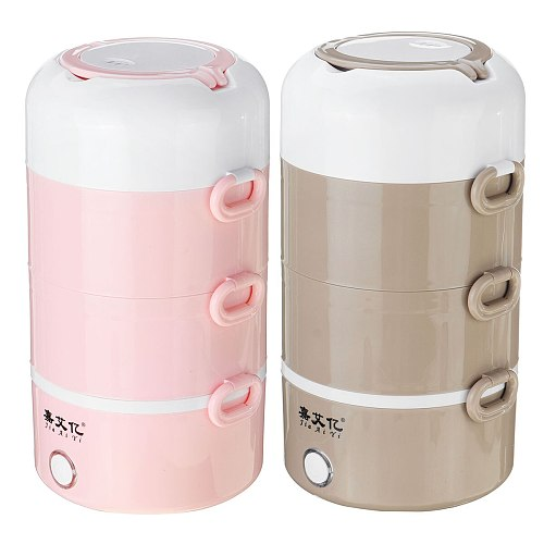 2.7L Electric Rice Cooker Stainless Steel 4 Layers Steamer Portable Meal Thermal Heating Lunch Box Food Container Bento Box 220V