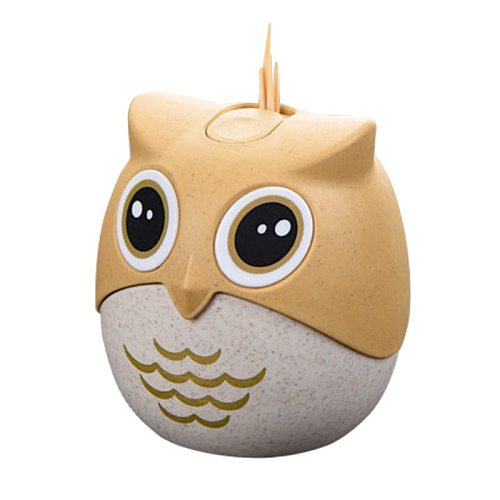 Plastic Cartoon Owl Toothpick Holder Popular Pressed Toothpick Bucket Creative Dustproof With Cover Box Barrel For Toothpicks