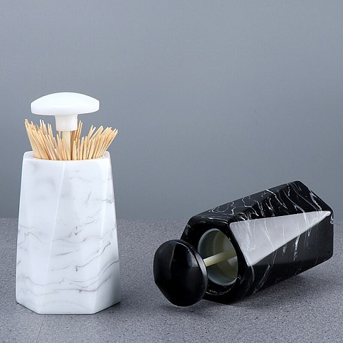 European Fashion Creative Marble Texture Toothpick Box Hand Pressure Toothpick Storage Box Desktop Ashtray Round Cotton Swab Box