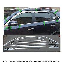 Car Body Stick Stainless Steel Glass Window Garnish Pillar Middle Column Strip Trim Hoods 16pcs For Kia Sorento 2013 2014