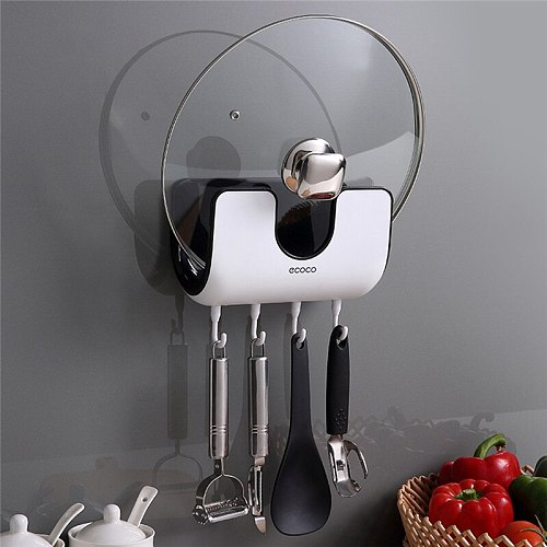 Wall-Mounted Kitchen Storage Rack Floating Punch-Free Houseware Pot Lid Pan Cover Organizer Rack Holder Stand Rest Shelf