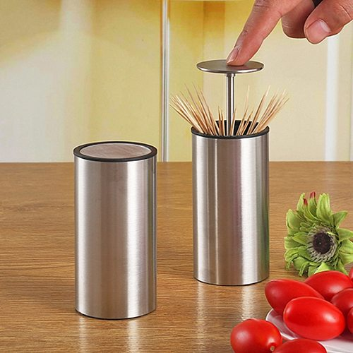 Stainless Steel Automatic Pop-up Toothpick Holder Retractable Rustproof Toothpick Dispenser for Living Room Table Kitchen
