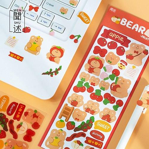 2 Pcs Cute Cartoon Animal Bear Deco Stickers Scrapbooking Stick Label Diary Album Sticker Kawaii Korean Stationery Art Supplies