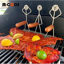 m-coos Funny Hot Dog Barbecue Metal Bracket Art Barbecue Nut Head Hot Dog BBQ Bracket Outdoor Barbecue Tool BBQ Accessories