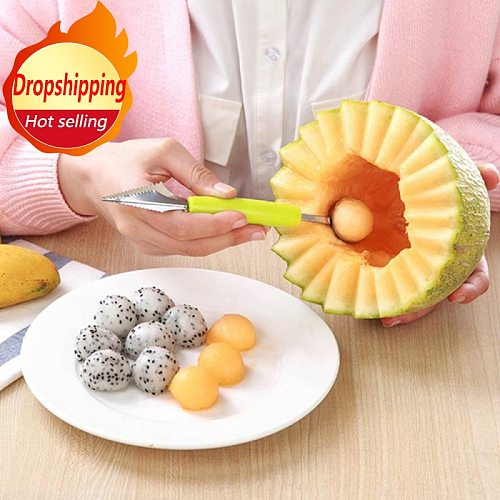 2 In 1 Ice Cream Ball Spoon DIY Assortment Baller Fruit Digging Spoon Watermelon Fruit Carving Gadge Knife Kitchen Accessories
