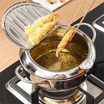 Deep Frying Pot 304 Stainless Steel with Thermometer and Lid Kitchen Tempura Fryer Pan Cooking Pots Saucepan Kitchen Tools