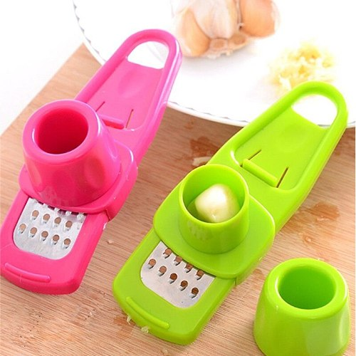 1PC Stainless Steel PP Garlic Presses Ginger Cutter Candy Color Plastic Grinding Tool Micro-planer Planer Kitchen Grater Grinder