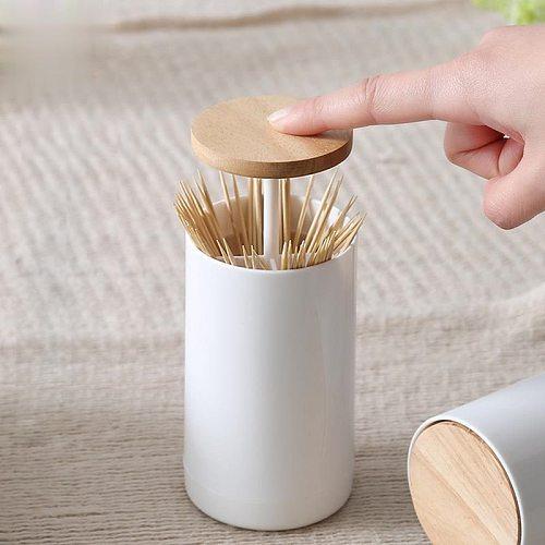 Pop-up Cotton Bud Swabs Toothpick Holder Dispenser Case Q-tips Holder Storage Organizer Box Home Hotel Decoration