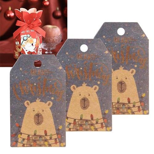 100 PCS Santa Claus Paper Cards Xmas Party Supplies DIY Kraft Tags Labels Gift Wrapping Paper Hang Tags Merry Christmas Decor