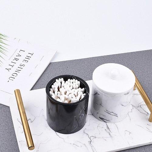 High-grade Marble Grain Storage Box Creative Cotton Swab Box Toothpick Holder Bathroom Cosmetic Organizer Desktop Decoration