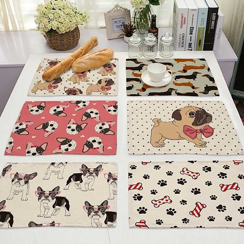 Pug Dog Pattern Cotton Linen Pad Dining Table Mats Coaster Bowl Cup Mat Pattern Kitchen Placemat 42*32cm Home Decor ML0020
