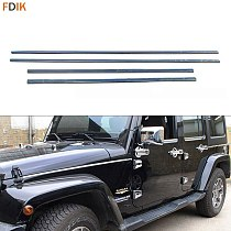 Stainless Steel Exterior Accessories Body Waist Strip Molding Trim Cover Garnish for Jeep Wrangler 2007-2016