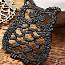 Cast Iron Owl Shaped Table Insulation Pad Teapot Soup Pot Cup Holder Hollow Mat Coasters Table Decor Place Mat Kitchen Bar Tools