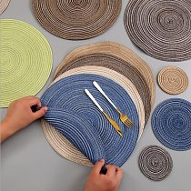 Coaster Table Mat Ramie Insulation Pad Solid Round Design Placemats Linen Non Slip Kitchen Accessories